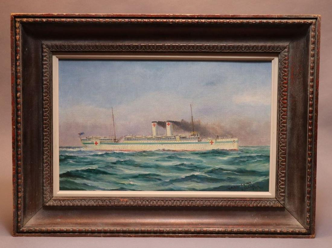 [WWI]  Oil Painting.  HMHS China, 1919