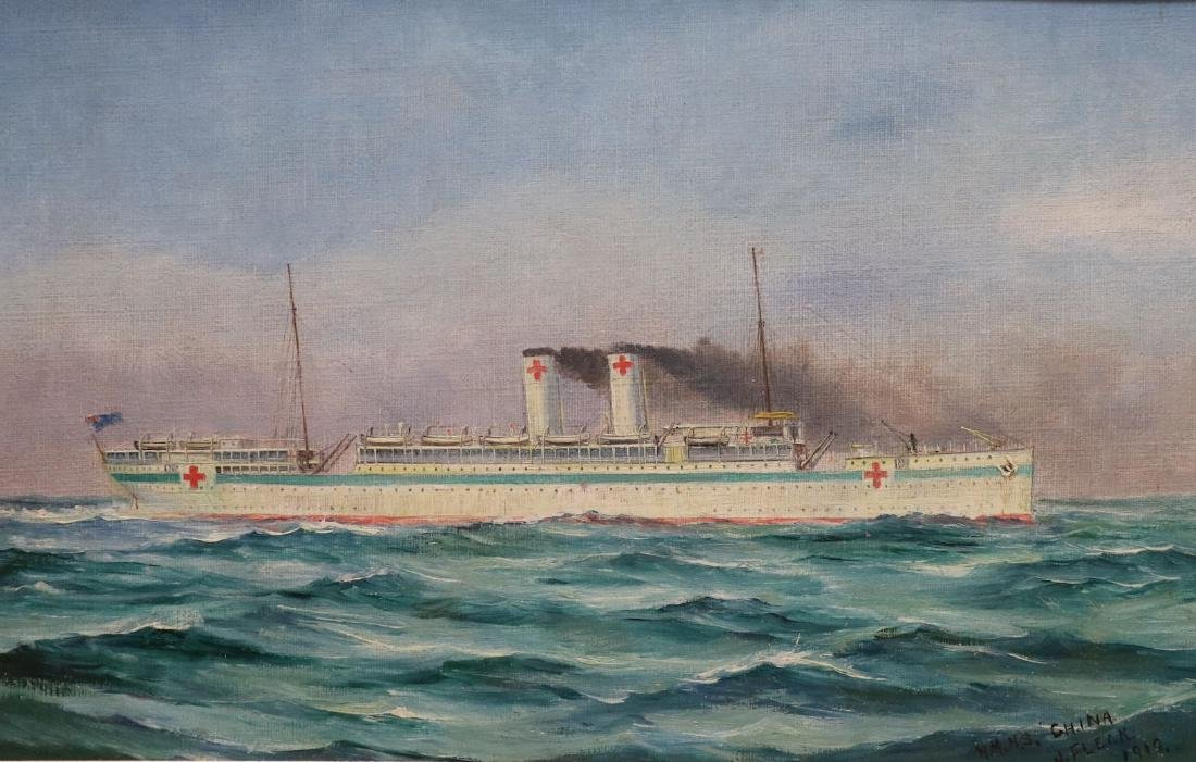 [WWI]  Oil Painting.  HMHS China, 1919 - 2