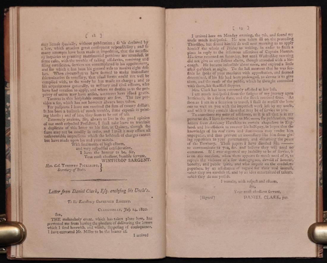 [Mississippi] Conduct of Gov. Sargent, 1801 - 4