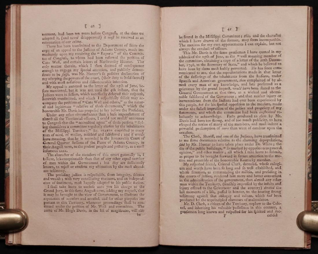 [Mississippi] Conduct of Gov. Sargent, 1801 - 5