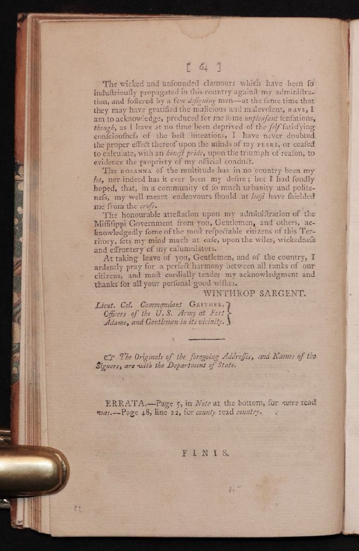 [Mississippi] Conduct of Gov. Sargent, 1801 - 6