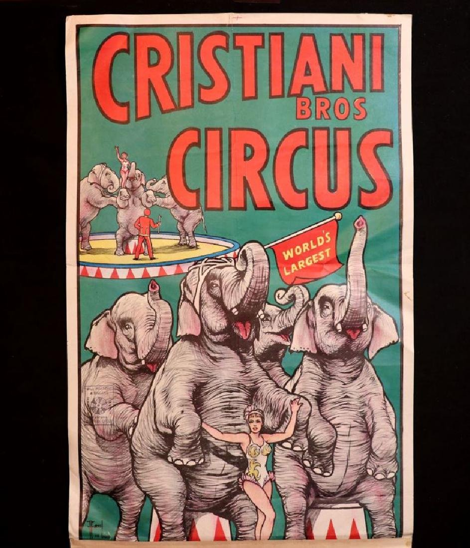 Cristiani Bros Circus Poster, Philadelphia, 1950s