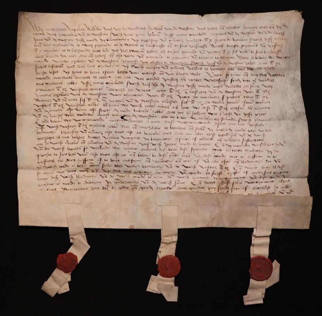 Medieval Manuscript Document, Vellum, Seals