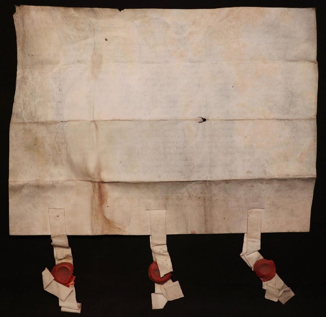 Medieval Manuscript Document, Vellum, Seals - 2