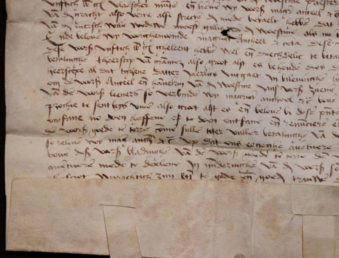 Medieval Manuscript Document, Vellum, Seals - 8