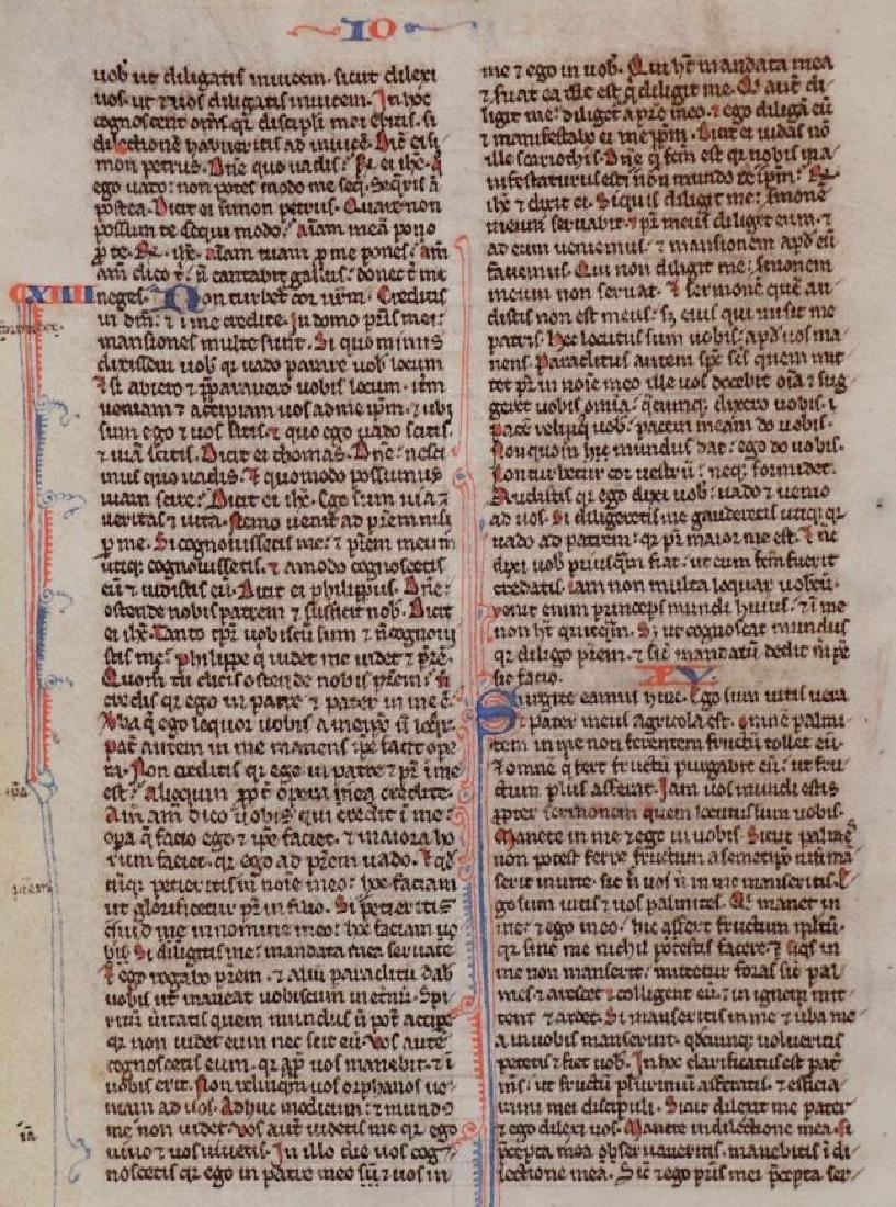 13th c. Manuscript Bible Leaf on Vellum