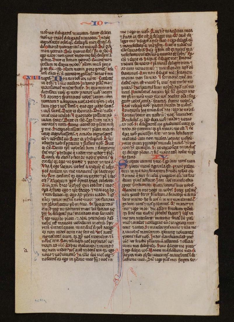 13th c. Manuscript Bible Leaf on Vellum - 2