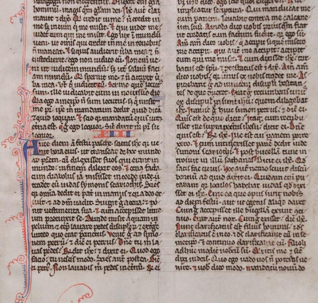 13th c. Manuscript Bible Leaf on Vellum - 4