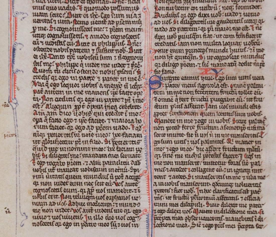 13th c. Manuscript Bible Leaf on Vellum - 5