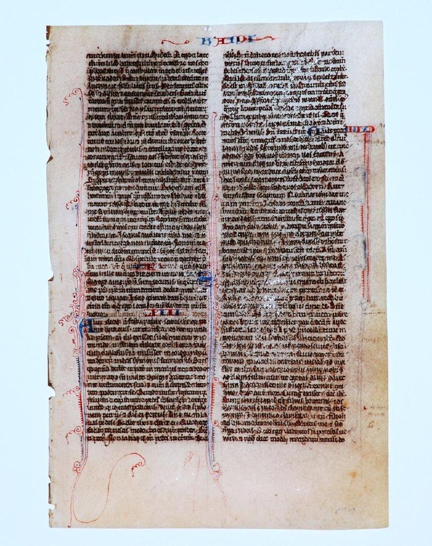 13th c. Manuscript Bible Leaf on Vellum - 6