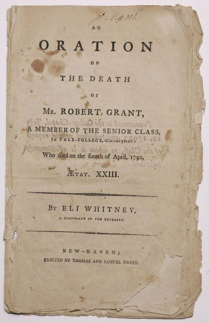 Eli Whitney, Early American Imprint, Scarce