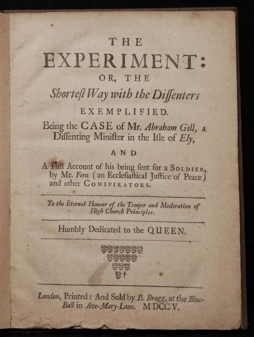 Daniel Defoe.  The Experiment, 1705, 1st ed.
