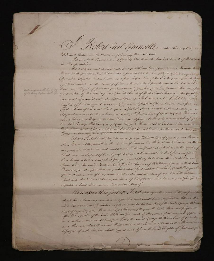 Robert Earl Granville, Large Manuscript Will, 1772