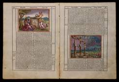 HandColored Bible Bifolium Venice 1588