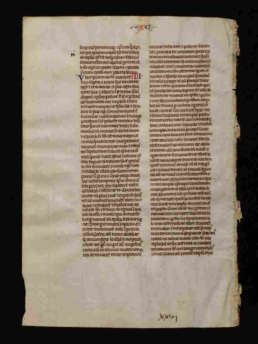 Medieval Bible Leaf, Book of Acts