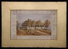 Original Watercolor Slave Cabin 19th c