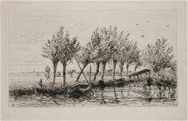Etching of a River Scene