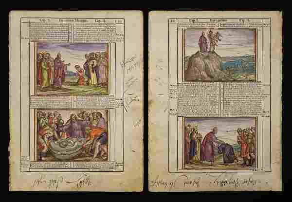 Hand-Colored Bible Leaves, Venice, 1588
