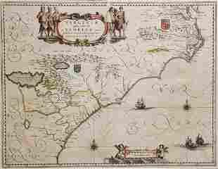 Blaeu. Virginia & Florida Map, 1640