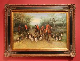 Robinson, Hunt Scene, Oil on Canvas