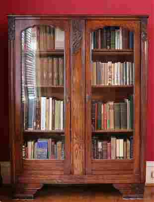 Antique Carved Pine Bookcase