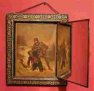 L. B. Brevete Tri-Fold Mirror w/ Paintings, 19th c.