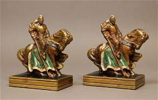 Bronzed Bookends, Knights on Horseback