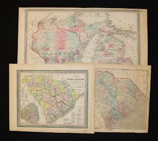 [South Carolina] Hand-Colored Maps, 19th c.