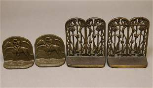 Two Pairs of Vintage Metal Bookends