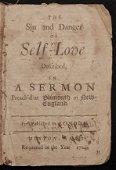 [Cushman, Robert]  The Sin and Danger of Self-Love