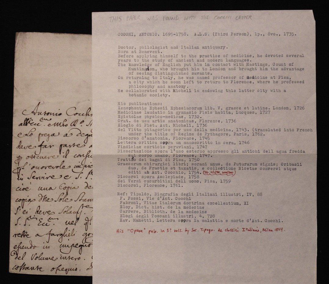 [Manuscript] Antonio Cocchi & Antonio Gori - 5