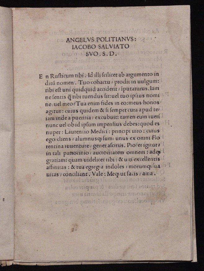 [Incunabula]  Angelus Politianus.  Silva cui Titulus