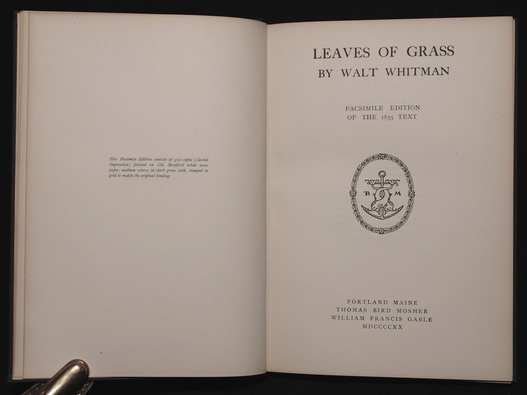 Whitman, Walt.  Leaves of Grass - 3