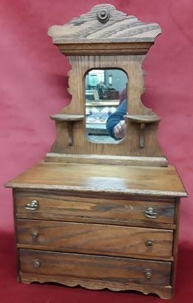 Oak Victorian Salesman Sample Dresser