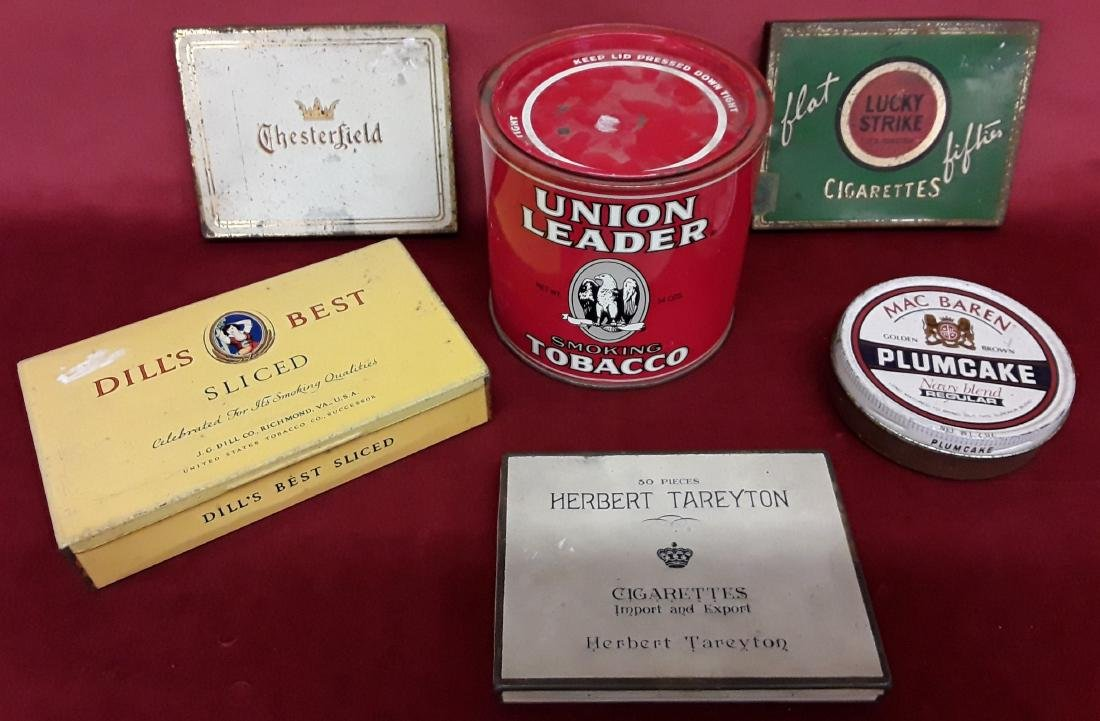 Lot of Six Tobacco Advertising Tins