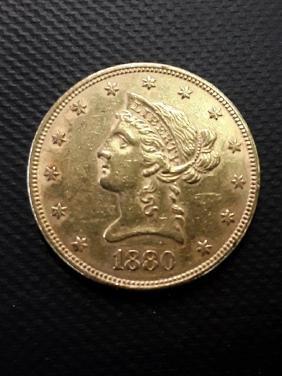 1880 Liberty $10 Gold Pcs