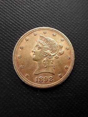 1898 Liberty $10 Gold Pcs