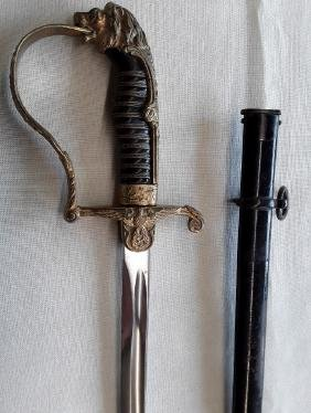 Original German Military Officers Sword with Lion Head