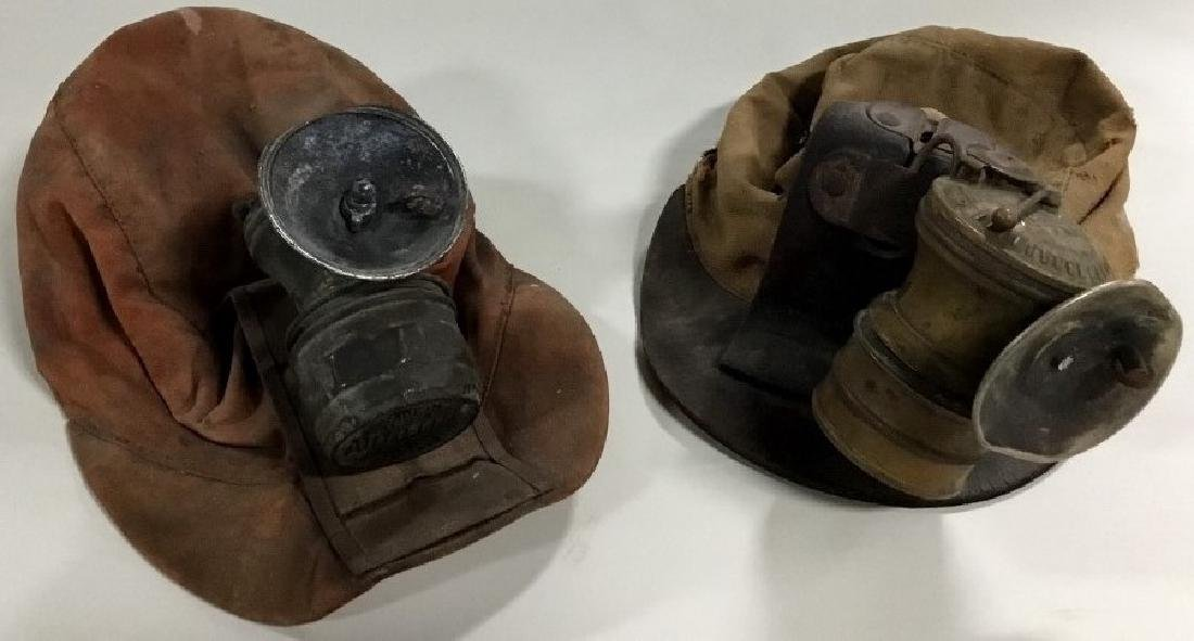 Lot of 2 Mining hats-helmets w/carbide lights