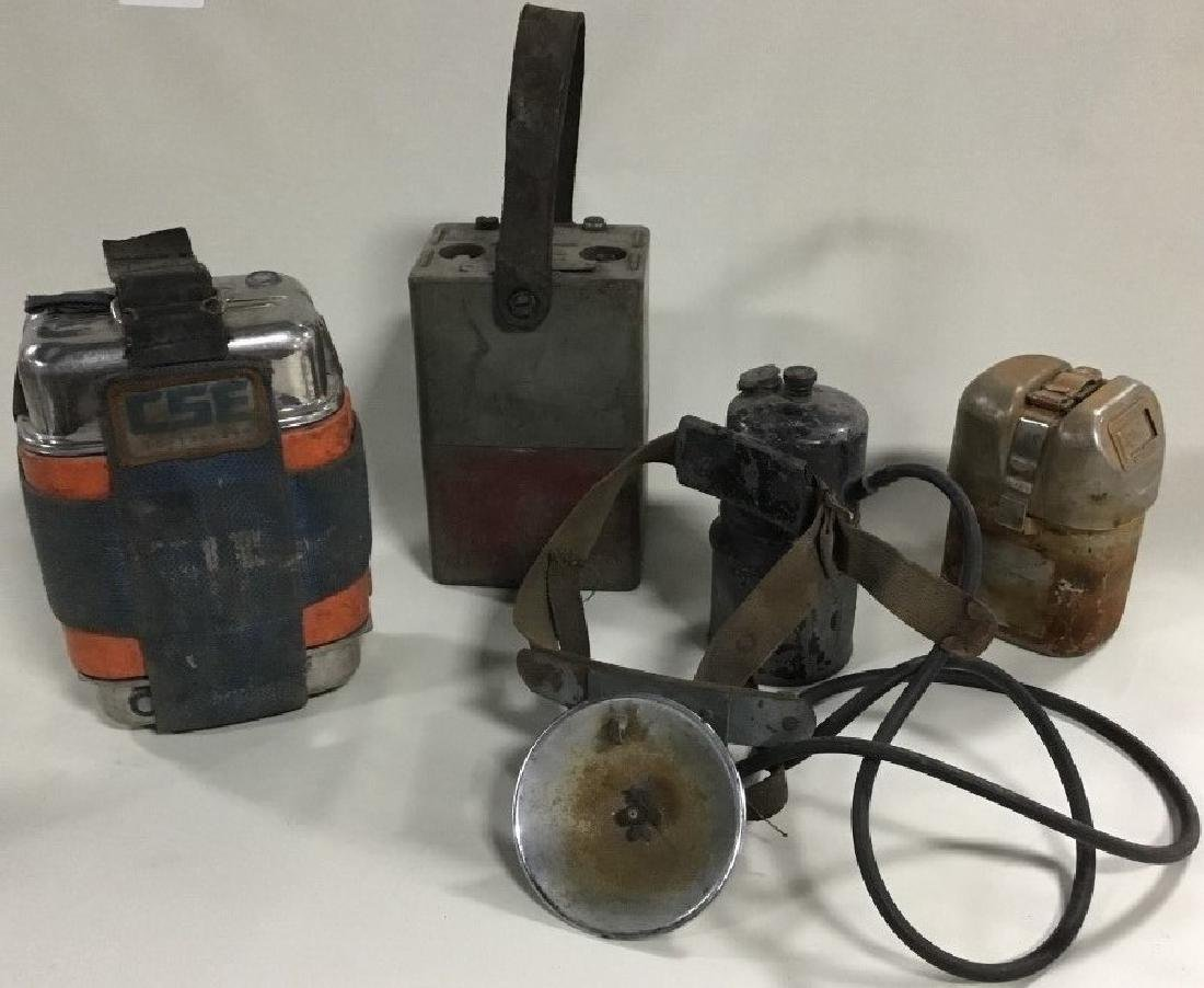 4 Various Miner's Batteries and lights