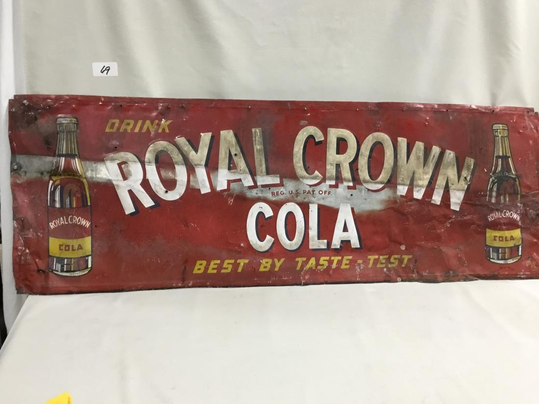 1949 Royal Crown Cola painted sign (Found Condition),