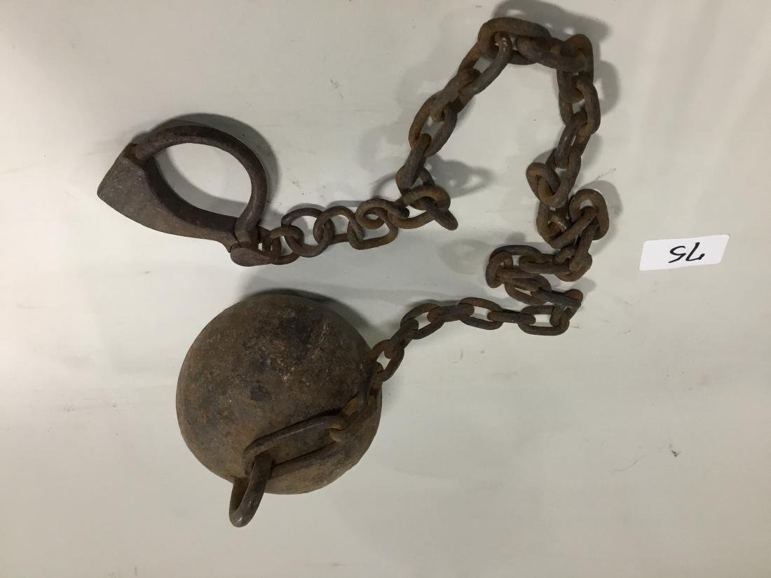 "Ball and chain, All original 6 1/2"" Diameter Ball. Do"