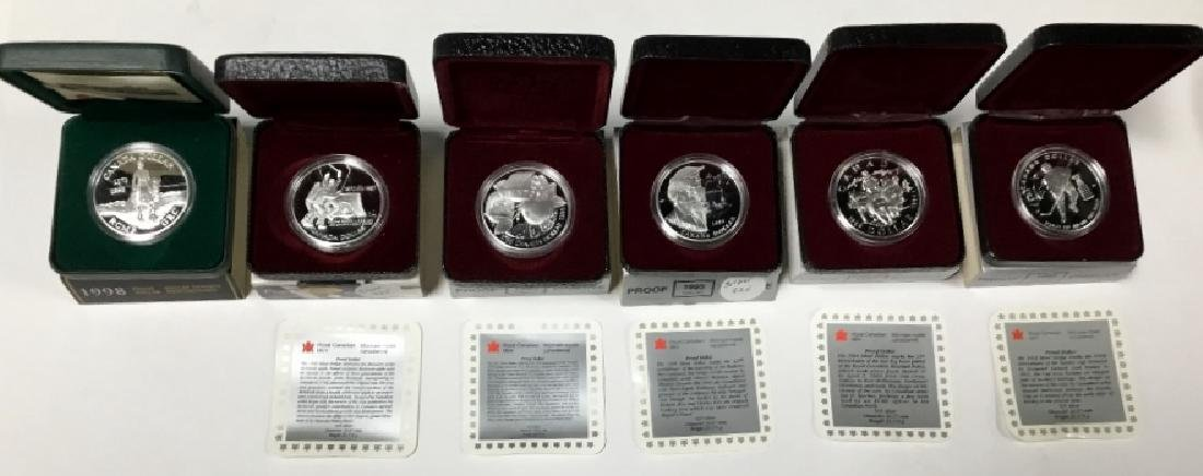 Lot of 6 Royal Canadian Mint Proof Dollars