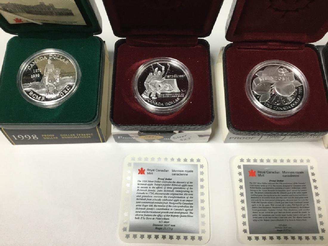 Lot of 6 Royal Canadian Mint Proof Dollars - 2
