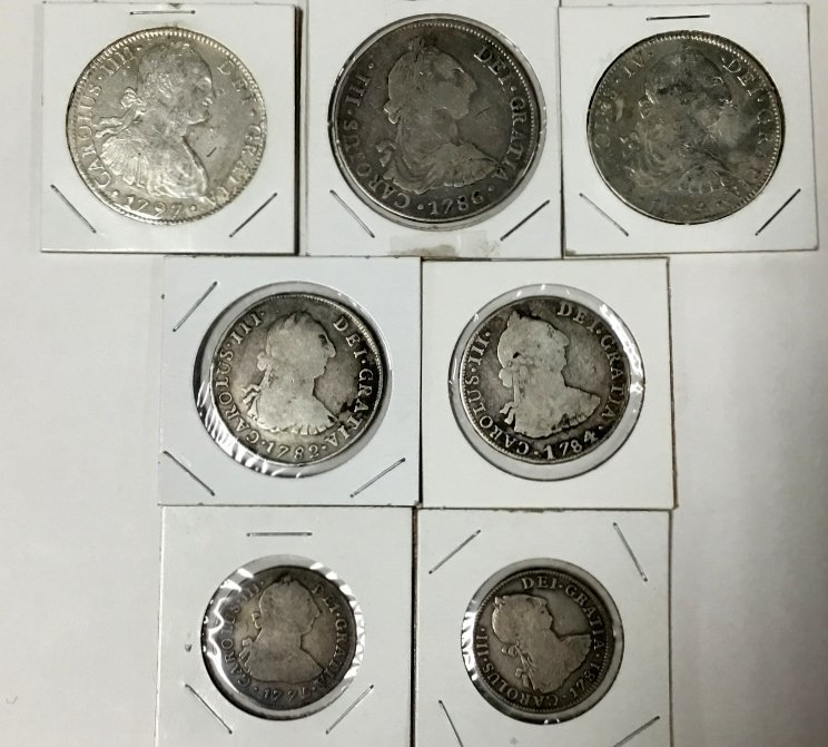 Lot of 8 Silver Reales - 2