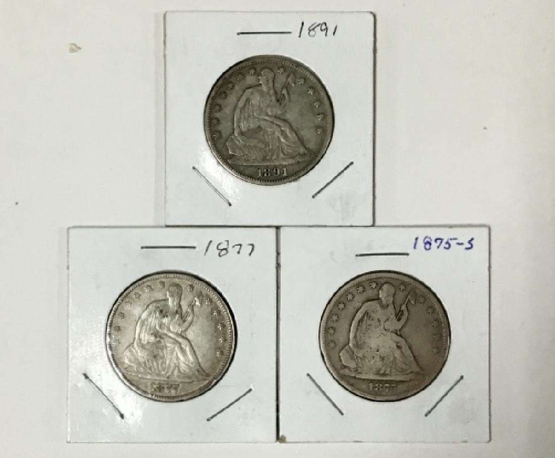 Lot of 3 Seated Liberty Half Dollars