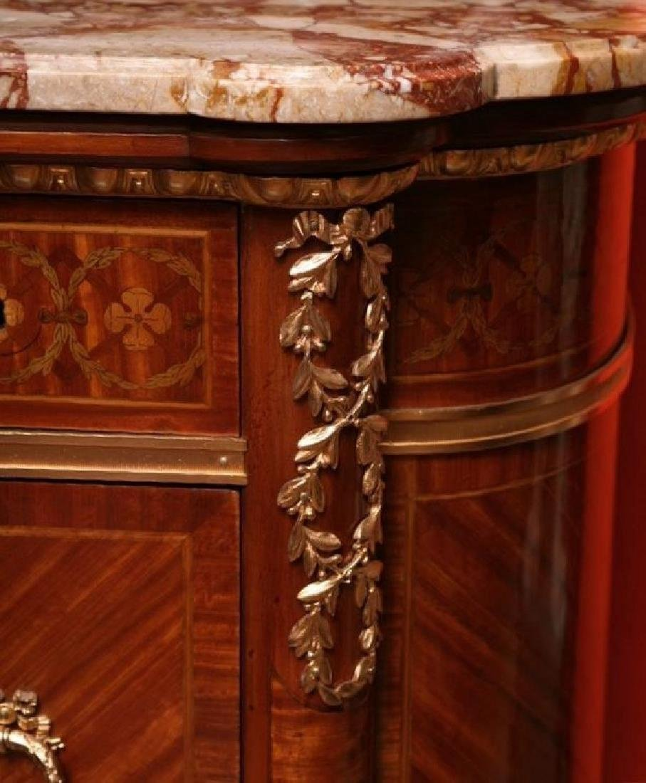 Louis XVI style French gilt bronze mounted marble top - 3