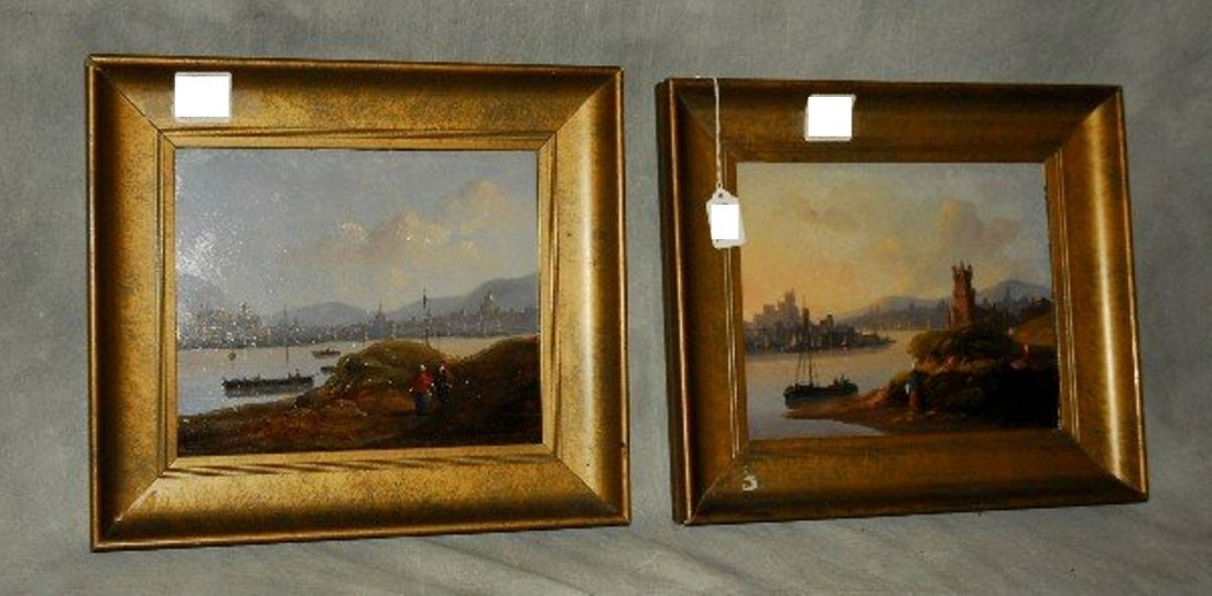 Pair 19th century Dutch School oils on panel