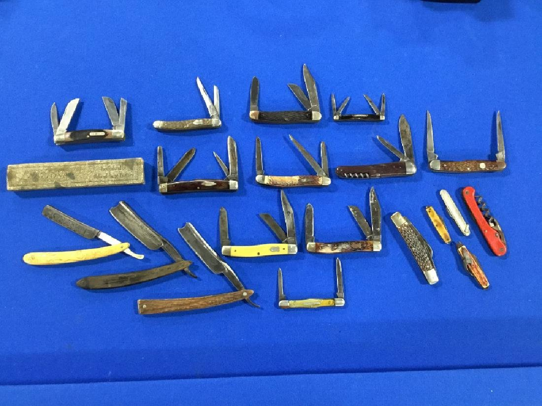 Lot of 19 Straight razors and various knives