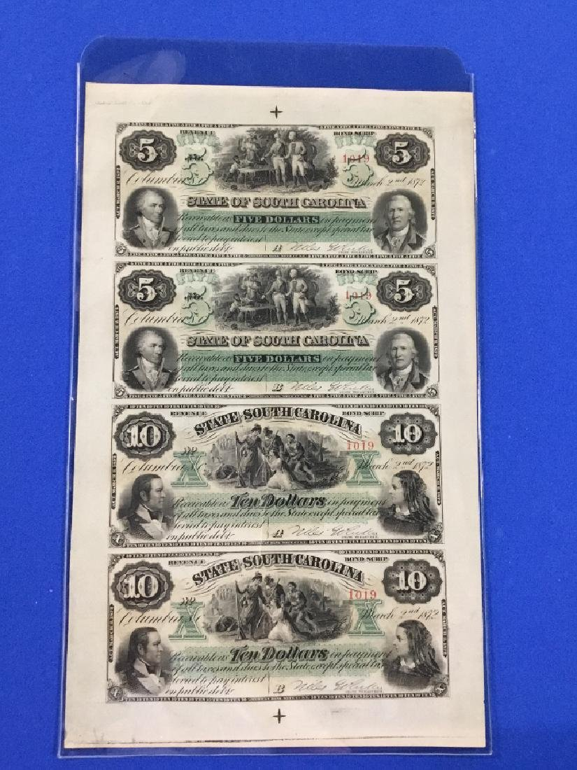 Uncut sheet 1872 The State of South Carolina Notes